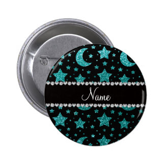 Custom name robin egg blue glitter stars and moons pinback buttons