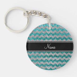 Custom name robin egg blue silver glitter chevrons keychain
