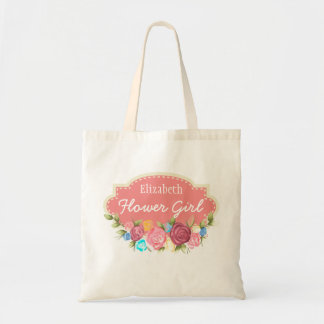Custom Name Rose Flower Girl Tote Bag