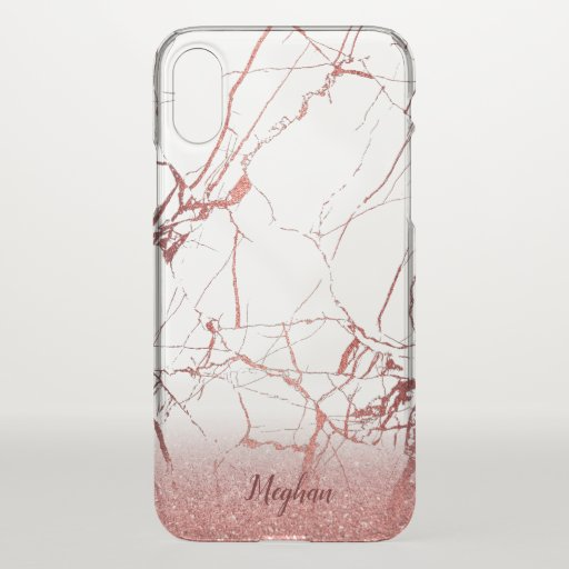 custom name rose gold marble stone iPhone x case