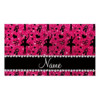 Custom name rose pink glitter ballerinas business cards