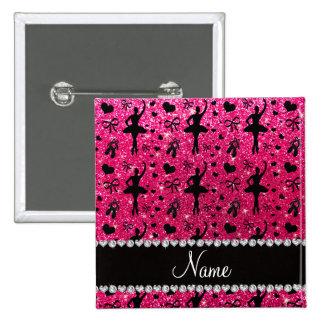 Custom name rose pink glitter ballerinas pinback button