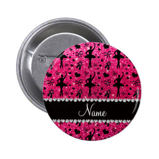 Custom name rose pink glitter ballerinas buttons