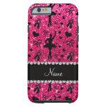 Custom name rose pink glitter ballerinas iPhone 6 case