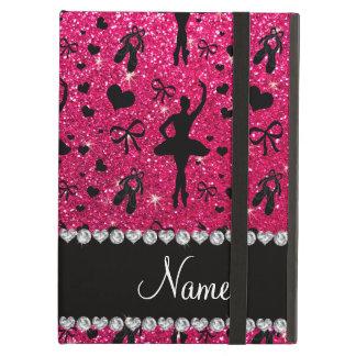 Custom name rose pink glitter ballerinas cover for iPad air