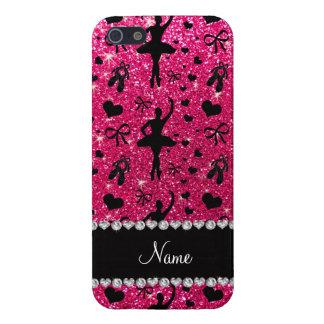 Custom name rose pink glitter ballerinas cover for iPhone SE/5/5s