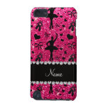 Custom name rose pink glitter ballerinas iPod touch (5th generation) cover