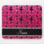 Custom name rose pink glitter ballerinas mouse pads