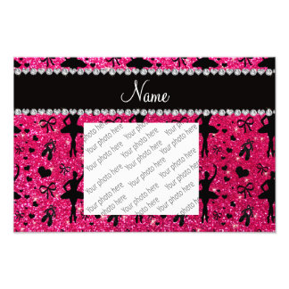 Custom name rose pink glitter ballerinas photo print