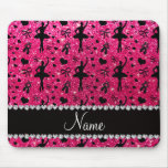 Custom name rose pink glitter ballerinas mouse pads