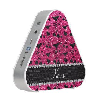 Custom name rose pink glitter bikini bows bluetooth speaker