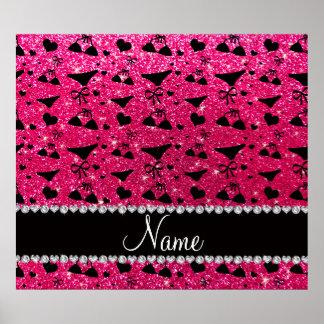 Custom name rose pink glitter bikini bows poster