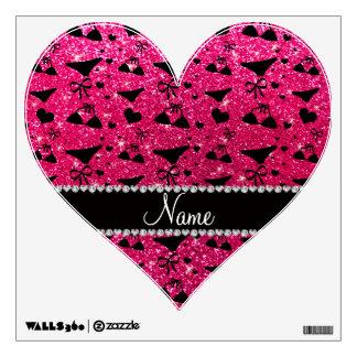 Custom name rose pink glitter bikini bows room decals