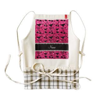 Custom name rose pink glitter bikini bows zazzle HEART apron