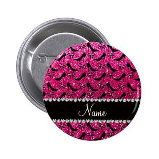 Custom name rose pink glitter black high heels bow pins