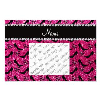 Custom name rose pink glitter black high heels bow photo print