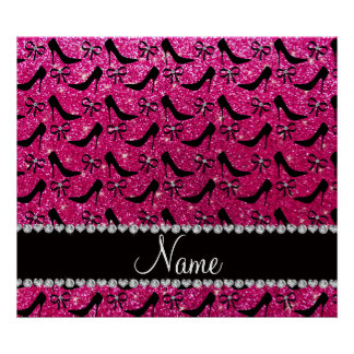 Custom name rose pink glitter black high heels bow poster