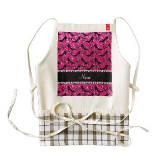 Custom name rose pink glitter black high heels bow zazzle HEART apron