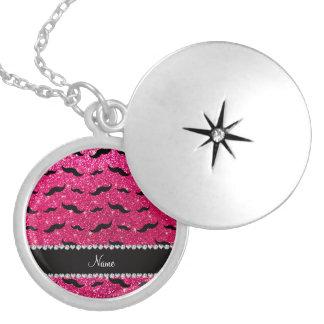 Custom name rose pink glitter black mustaches pendants