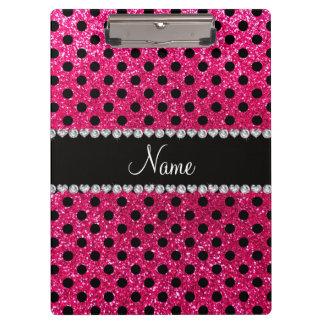 Custom name rose pink glitter black polka dots clipboard
