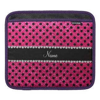 Custom name rose pink glitter black polka dots iPad sleeve