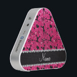 """Custom name rose pink glitter cheerleading bluetooth speaker<br><div class=""""desc"""">Modern, girly and trendy Custom name rose pink glitter (NOT REAL GLITTER) cheerleader pattern with pompoms background, hearts and bows in black and with a pretty black diamonds (faux not real diamonds) beautiful hearts dots stripe personalized with just add your name gifts or monogram gifts or your initials for a...</div>"""