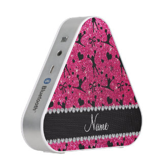 Custom name rose pink glitter cheerleading bluetooth speaker