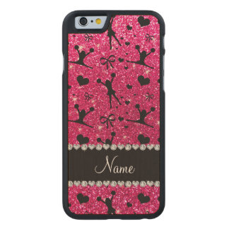 Custom name rose pink glitter cheerleading carved® maple iPhone 6 slim case