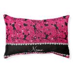 Custom name rose pink glitter cheerleading small dog bed