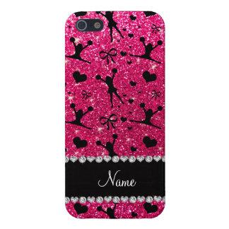 Custom name rose pink glitter cheerleading iPhone SE/5/5s case