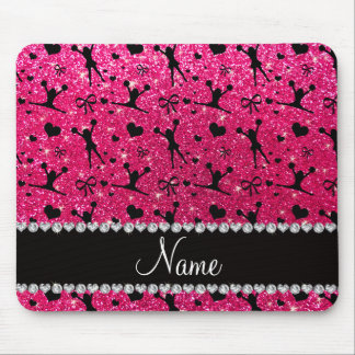 Custom name rose pink glitter cheerleading mouse pad