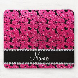 Custom name rose pink glitter cheerleading mouse pad