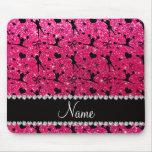 Custom name rose pink glitter cheerleading mousepads