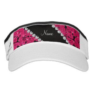 Custom name rose pink glitter cheerleading headsweats visors
