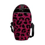 Custom name rose pink glitter cheetah print courier bags