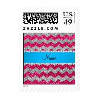 Custom name rose pink glitter chevrons blue stripe postage stamps