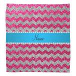 Custom name rose pink glitter chevrons blue stripe bandana