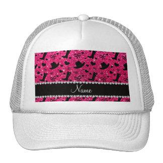 Custom name rose pink glitter cowboy boots hats