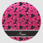 Custom name rose pink glitter cowboy boots hats classic round sticker