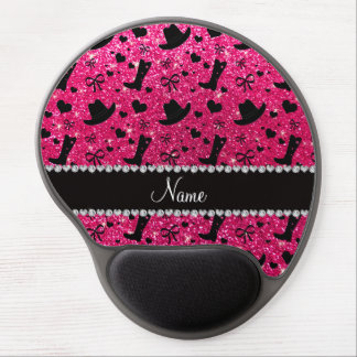 Custom name rose pink glitter cowboy boots hats gel mouse pad