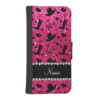 Custom name rose pink glitter cowboy boots hats iPhone SE/5/5s wallet