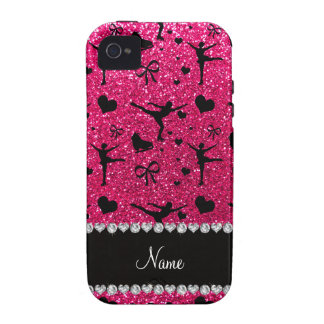 Custom name rose pink glitter figure skating Case-Mate iPhone 4 cover