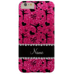 Custom name rose pink glitter figure skating barely there iPhone 6 plus case