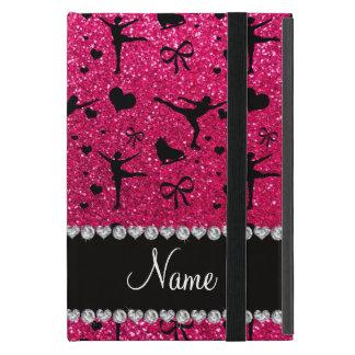 Custom name rose pink glitter figure skating covers for iPad mini