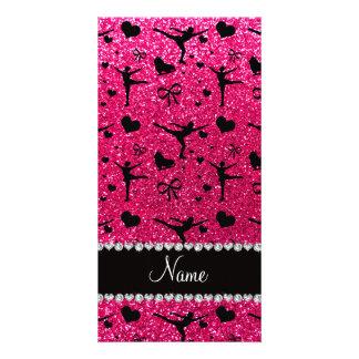 Custom name rose pink glitter figure skating photo card