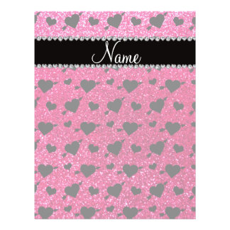 Custom name rose pink glitter hearts arrows personalized flyer