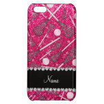 Custom name rose pink glitter lacrosse sticks case for iPhone 5C