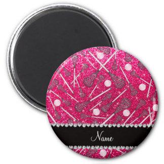Custom name rose pink glitter lacrosse sticks magnet