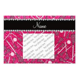 Custom name rose pink glitter lacrosse sticks photographic print
