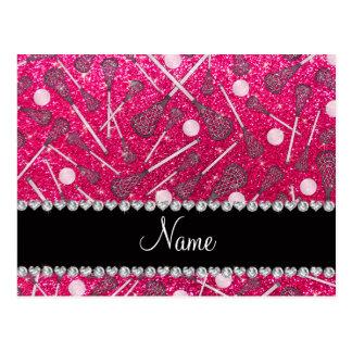 Custom name rose pink glitter lacrosse sticks postcard